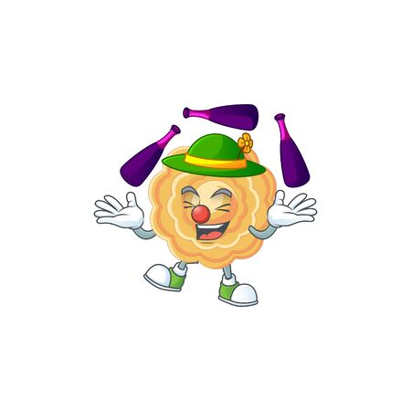 Smart chinese mooncake cartoon character design playing Juggling Çizim