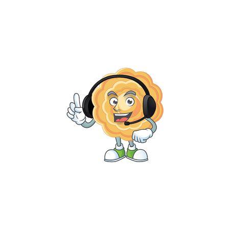 Smiley chinese mooncake cartoon character design wearing headphone