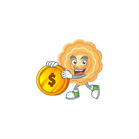 Rich chinese mooncake mascot cartoon design style with gold coin