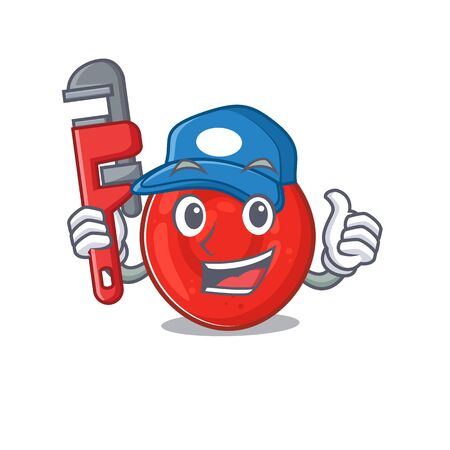 Cool Plumber erythrocyte cell on mascot picture style. Vector illustration Ilustrace