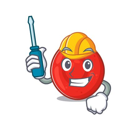 Cool automotive erythrocyte cell in cartoon character style. Vector illustration Illustration