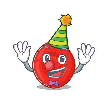 Funny Clown erythrocyte cell cartoon character mascot design. Vector illustration