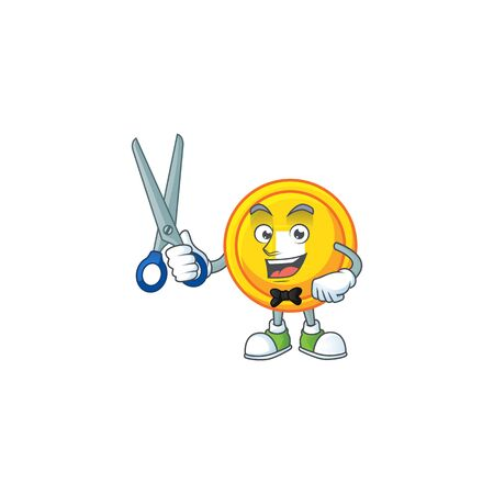 Cool friendly barber chinese gold coin cartoon character style