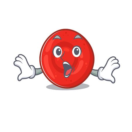 Erythrocyte cell cartoon character design on a surprised gesture. Vector illustration