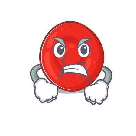 Diseño de personajes de dibujos animados de células de eritrocitos con cara de enojo. Ilustración vectorial