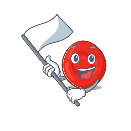 Funny erythrocyte cell cartoon character style holding a standing flag Archivio Fotografico - 138525933
