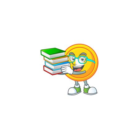 Cool and clever Student chinese gold coin mascot cartoon with book Çizim
