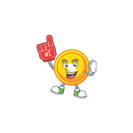 Chinese gold coin mascot cartoon style holding a Foam finger