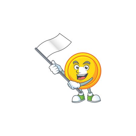 Funny chinese gold coin cartoon character style holding a standing flag