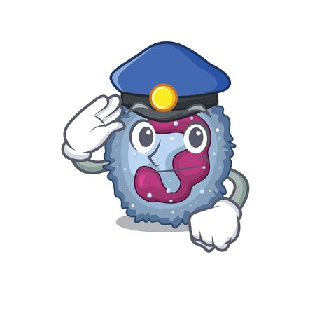Neutrophil cell Cartoon mascot performed as a Police officer