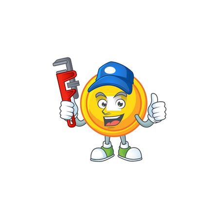Cool Plumber chinese gold coin on mascot picture style. Vector illustration