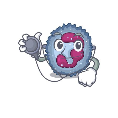 Smart and cool neutrophil cell cartoon character in a Doctor with tools