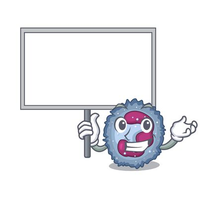 A cute picture of neutrophil cell cute cartoon character bring a board