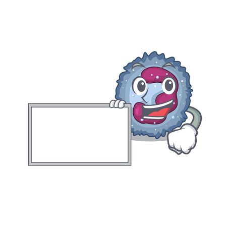 Funny neutrophil cell cartoon character design style with board