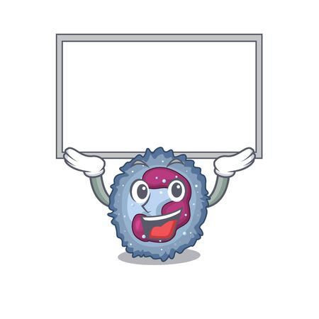 A mascot picture of neutrophil cell raised up board