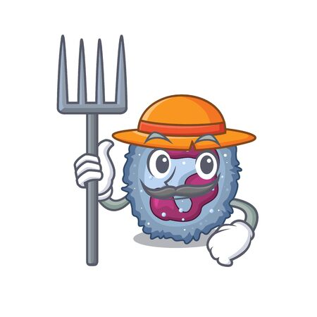 Cheerfully Farmer neutrophil cell cartoon picture with hat and tools