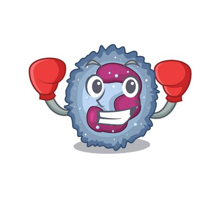 Sporty Boxing neutrophil cell mascot character style Vector Illustration