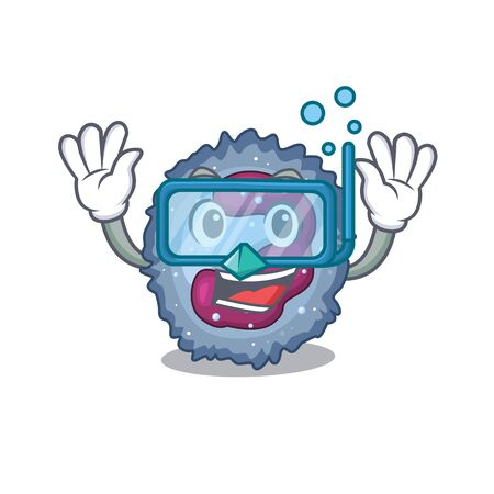 cartoon character of neutrophil cell wearing Diving glasses Vector Illustration