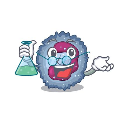 Smart Professor neutrophil cell cartoon character with glass tube