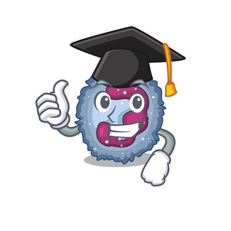 happy and proud of neutrophil cell wearing a black Graduation hat Vector Illustration