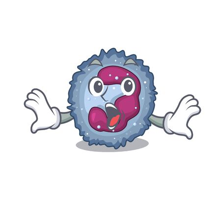 Neutrophil cell cartoon character design on a surprised gesture Ilustracja