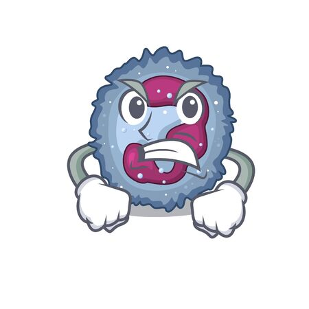 Neutrophil cell cartoon character design having angry face