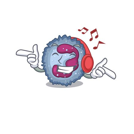 Listening music neutrophil cell mascot cartoon character design