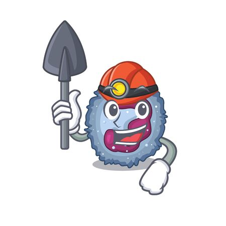 Cool clever Miner neutrophil cell cartoon character design. Vector illustration Ilustracja