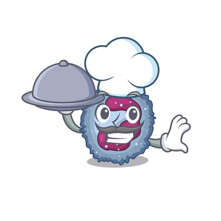 cartoon design of neutrophil cell as a Chef having food on tray