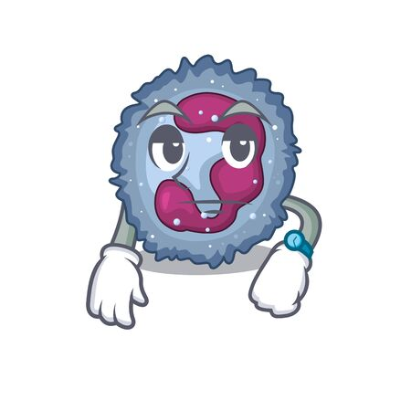 cartoon character design of neutrophil cell on a waiting gesture