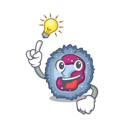 Have an idea gesture of neutrophil cell cartoon character design