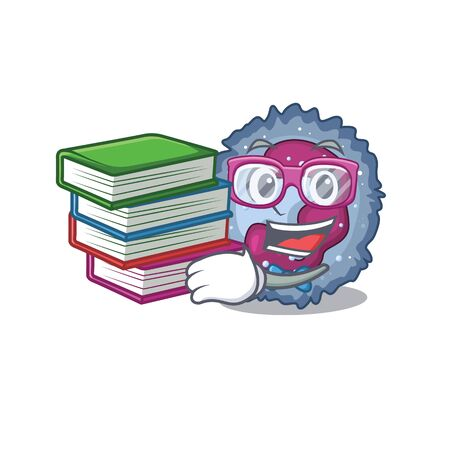 Cool and clever Student neutrophil cell mascot cartoon with book