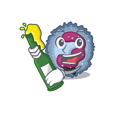 mascot cartoon design of neutrophil cell with bottle of beer Ilustracja