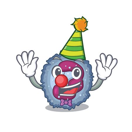 Funny Clown neutrophil cell cartoon character mascot design