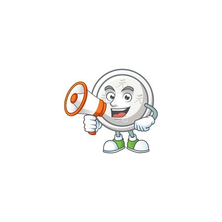 Cool cartoon character of chinese silver coin holding a megaphone. Vector illustration