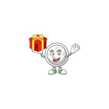 Happy face chinese silver coin cartoon character having a box of gift. Vector illustration