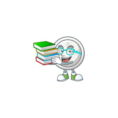 Cool and clever Student chinese silver coin mascot cartoon with book. Vector illustration Çizim