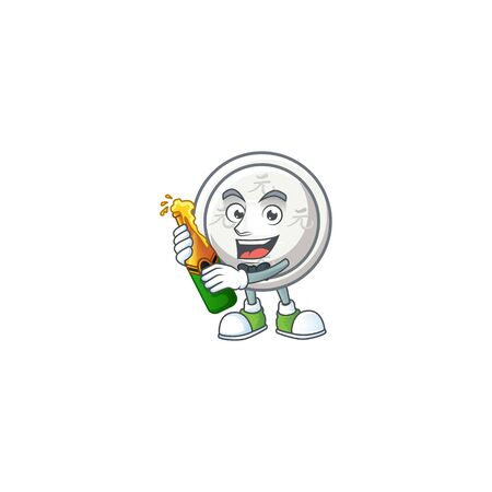 mascot cartoon design of chinese silver coin with bottle of beer. Vector illustration Ilustração