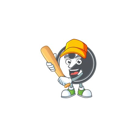 Sporty smiling yin yang cartoon mascot with baseball. Vector illustration