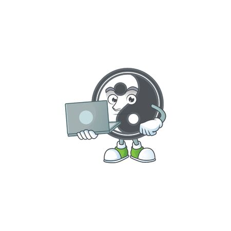 A clever yin yang mascot character working with laptop. Vector illustration