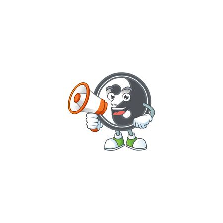 Cool cartoon character of yin yang holding a megaphone. Vector illustration