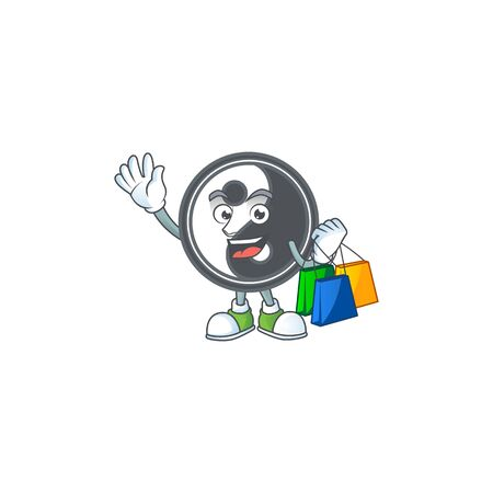 A happy rich yin yang waving and holding Shopping bag. Vector illustration