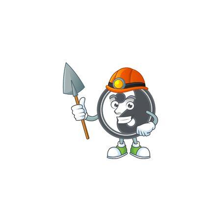 Cool clever Miner yin yang cartoon character design. Vector illustration