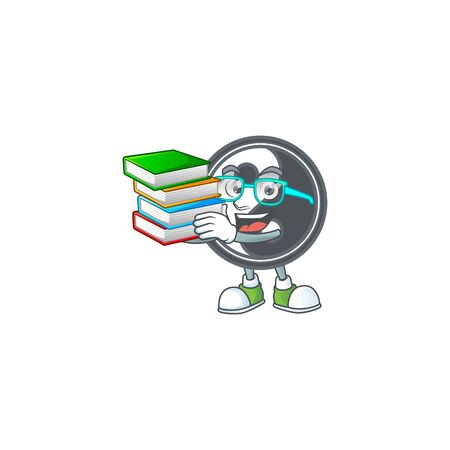 Cool and clever Student yin yang mascot cartoon with book. Vector illustration Çizim