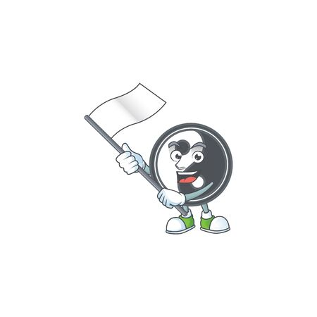 Funny yin yang cartoon character style holding a standing flag. Vector illustration Archivio Fotografico - 138387258