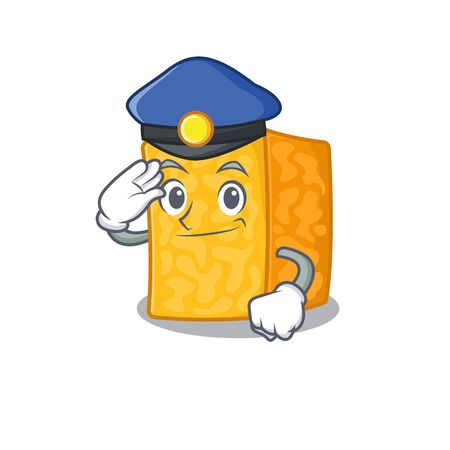 Colby jack cheese Cartoon mascot performed as a Police officer. Vector illustration