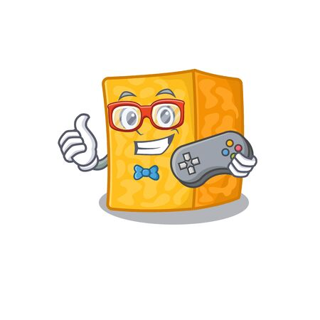 Smiley gamer colby jack cheese cartoon mascot style