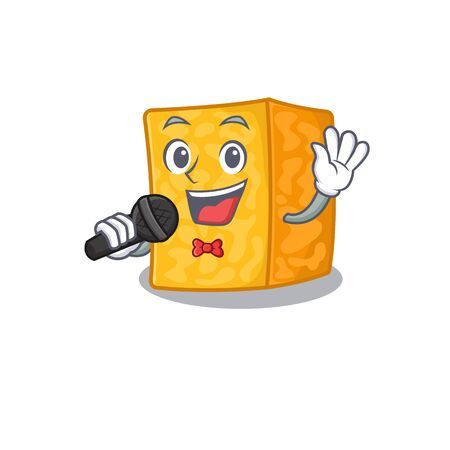 Happy colby jack cheese singing on a microphone. Vector illustration