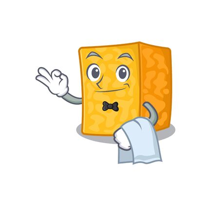Friendly colby jack cheese Character stand as a Waiter character Ilustração