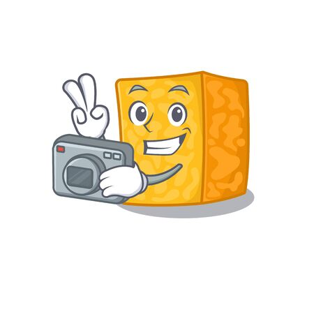 Cool Photographer colby jack cheese character with a camera. Vector illustration Zdjęcie Seryjne - 138432960